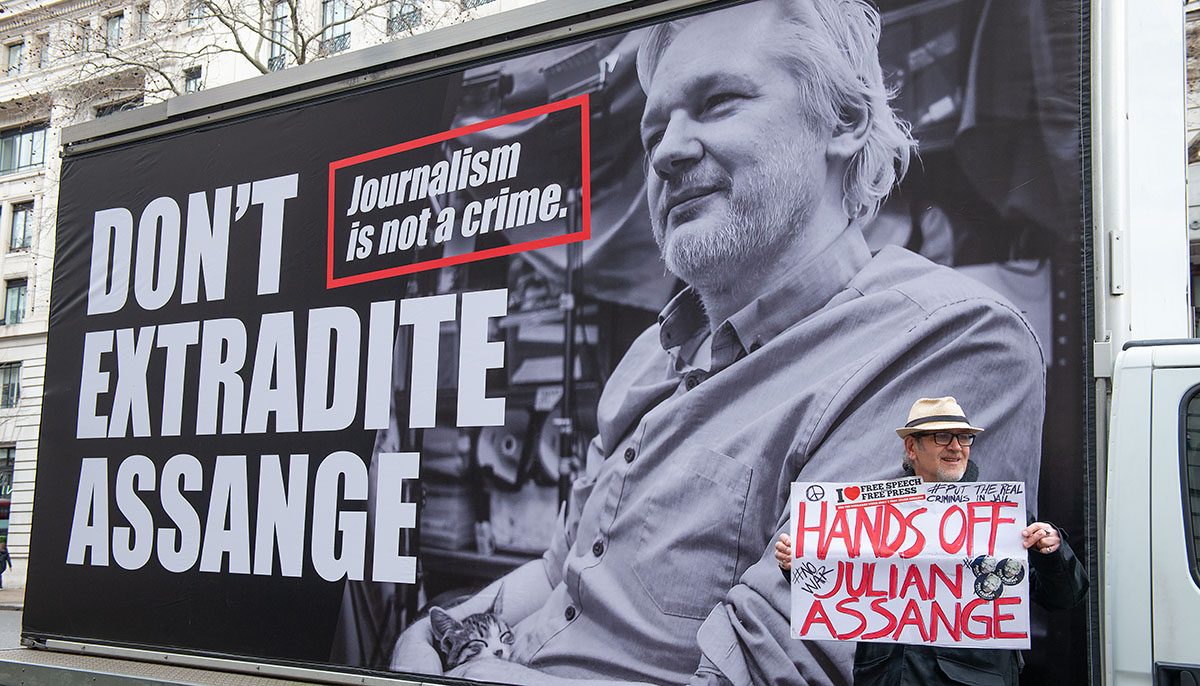 protests in the UK to support Julian Assange